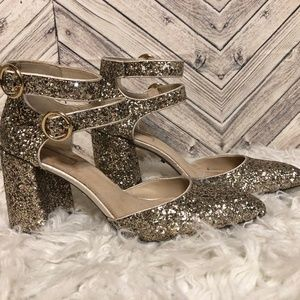 TopShop womens 40 glitter pointed toe chunky heels